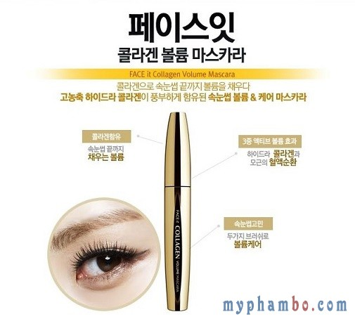 chuốt mi Mascara collagen the face shop