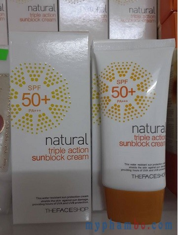 Kem Chong Nang Natural Triple Action Sunblock Cream 50+ The face shop (1)