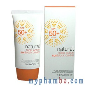Kem Chong Nang Natural Triple Action Sunblock Cream 50+ The face shop (4)