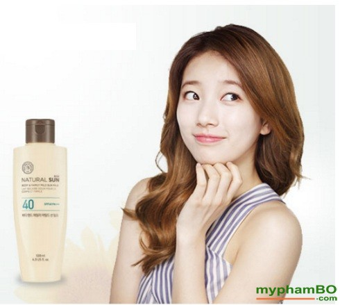 Kem chng nng toàn thon the face shop Natural Sun body & family mild UPF40 (1)