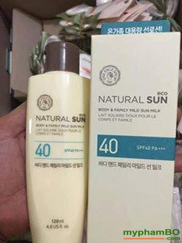 Kem chong nang toan than the face shop Natural Sun body & family mild UPF40 (2)
