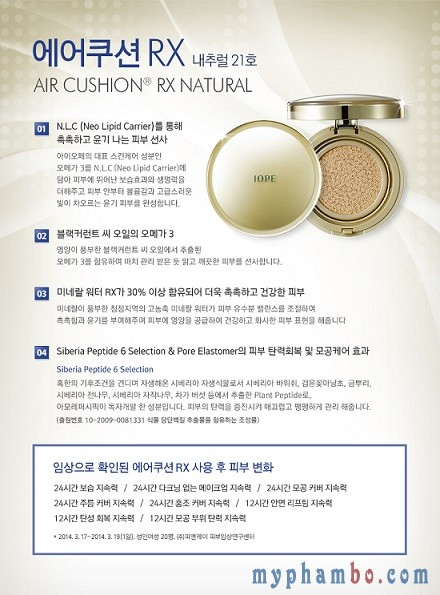 Phan nuoc IOPE Air Cushion RX Sunblock SPF 50+PA++ Gold ( vang ) - Han quoc (2)