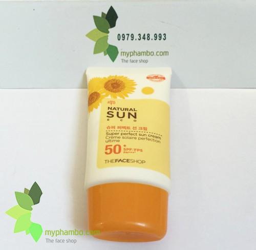 Kem Chong Nang The Face Shop Natural Sun Eco SUPER PERFECT Sun Cream 50 SPFFPS PA+++ (4)