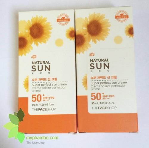 Kem Chong Nang The Face Shop Natural Sun Eco SUPER PERFECT Sun Cream 50 SPFFPS PA+++ (6)