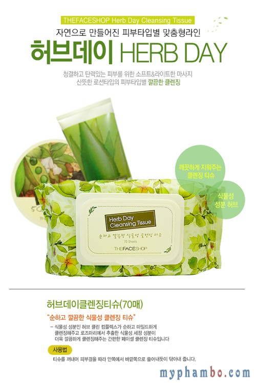 Khan uot tay trang Thefaceshop - Herbday cleansing tissue (2)