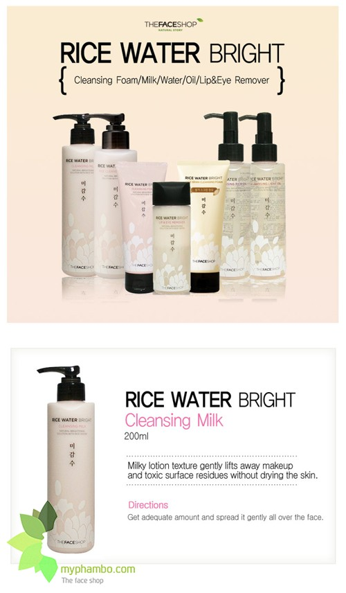 Sua Tay Trang Rice Water Bright Cleansing Milk The Face Shop revew (4)
