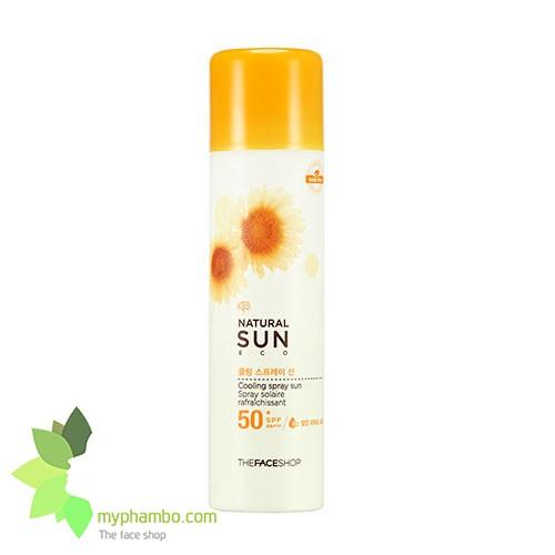 Kem chong nang dang xit Natural Sun eco cooling spray the face shop (1)