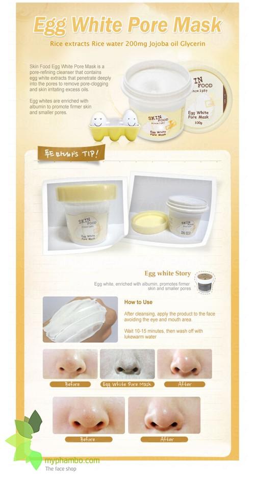 Mat na trung trang Egg White Pore Mask - SKINFOOD (2)