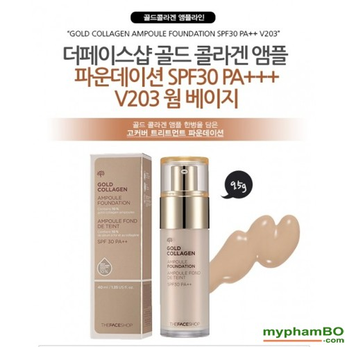 Kem nen The Face shop Gold Collagen Ampoule Foundation (4)