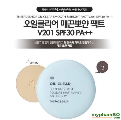 Phan phu kiem dau Oil Clear Smooth & Bright Pact TheFaceShop (2)