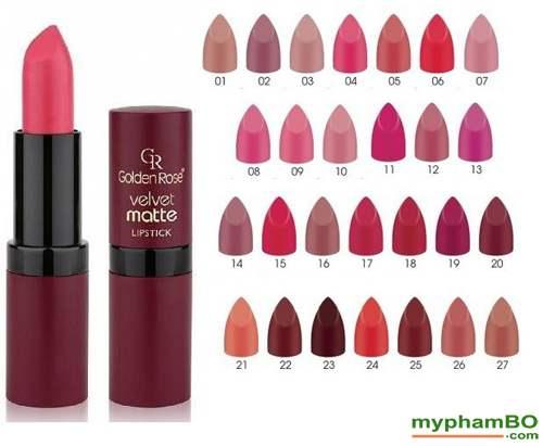 Son li mau nhung Golden Rose Velvet Matte Lipstick (1)