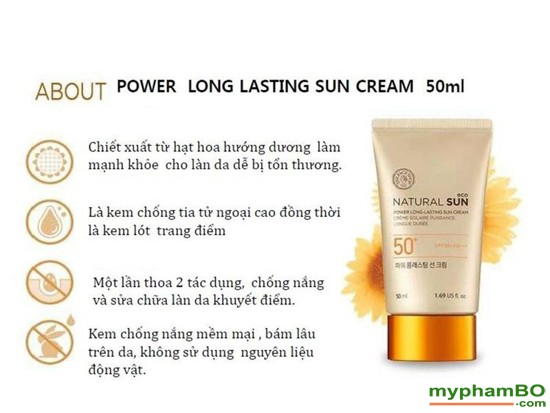 Kem chng nng Natural Sun Eco Power Long Lasting Sun Cream SPF50+ PA+++ (5)