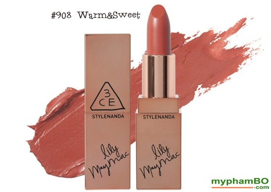 Son thi 3CE Lily MayMac 908 - Matte Lip Color Màu Warm & Sweet (5)