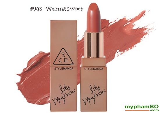 Son thi 3CE Lily MayMac 908 - Matte Lip Color Màu Warm & Sweet (5)