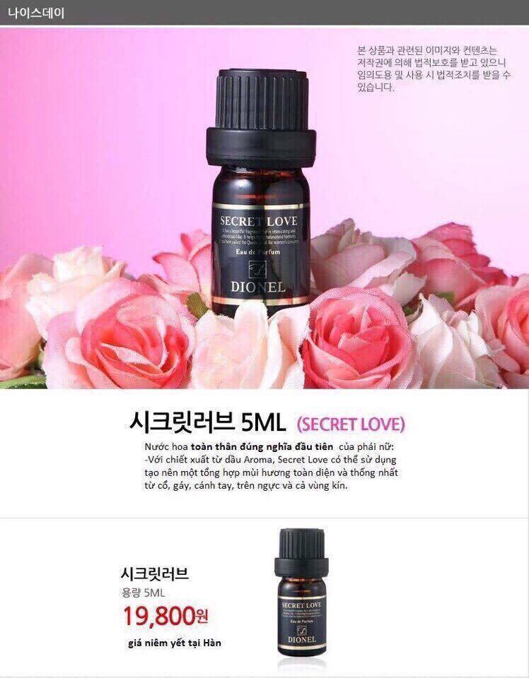 Nước hoa vùng kín Dionel secret love - Hàn Quốc