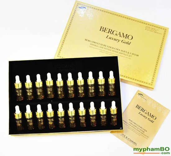 B tinh cht tr mn Bergamo Luxury Gold Collagen And Caviar 13mlchai x 20 chai (1)