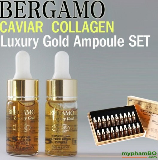 B tinh cht tr mn Bergamo Luxury Gold Collagen And Caviar 13mlchai x 20 chai (5)