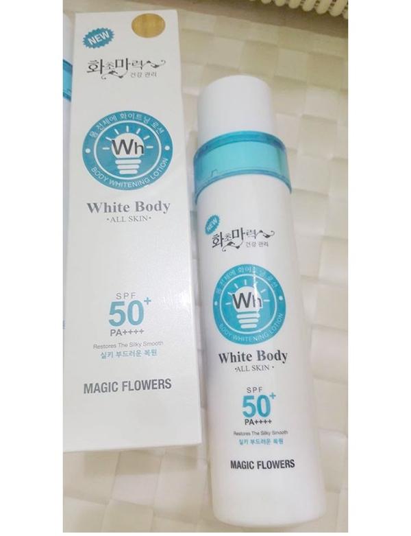 Kem kich trang white body all skin SPF 50+ Han Quoc (2)