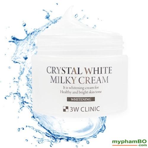 Kem duong trang da crystal white milky cream 3w clinic (2)