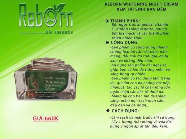 Kem tai sinh dem Reborn Whitening Night Cream - My (2)
