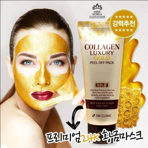 Mat na vang duong da 3W Clinic Collagen Luxury Gold Peel Off Pack 100g (3)