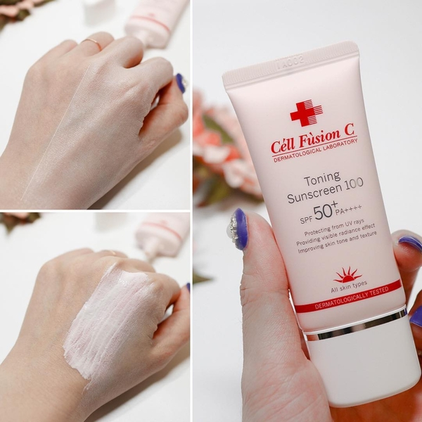 Kem chong nang Cell Fusion c Toning sunscreen 100 spf 50+ 35ml - Vo hong (7)