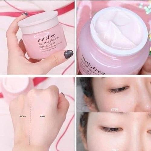 công dụng kem dưỡng trắng innisfree jeju cherry blossom