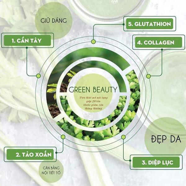 quy cách nước ép tinh chất cần tây green beauty