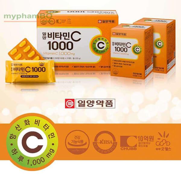 quy cách của hộp Viên uống cung cấp Vitamin C 1000mg ilyang