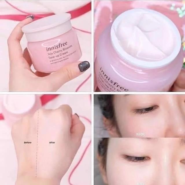 Quy cách Bộ Innisfree Jeju Cherry Blossom 4in1 dưỡng ẩm và nâng tông sáng da