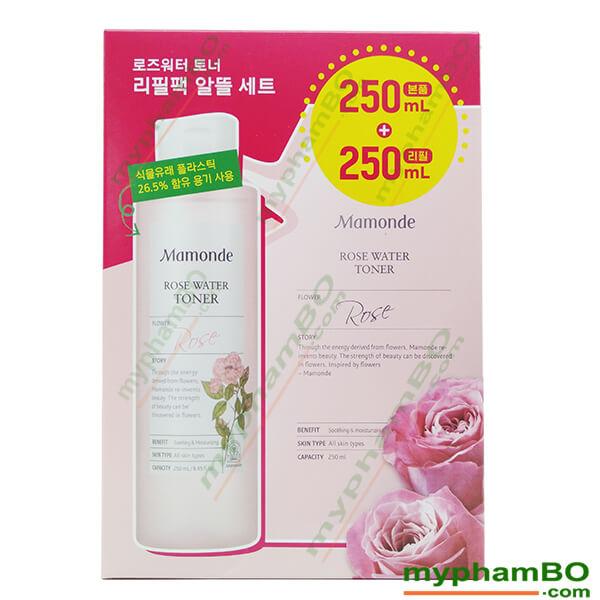 Quy cách Set nước hoa hồng Mamonde rose water toner 250ml + túi 250ml