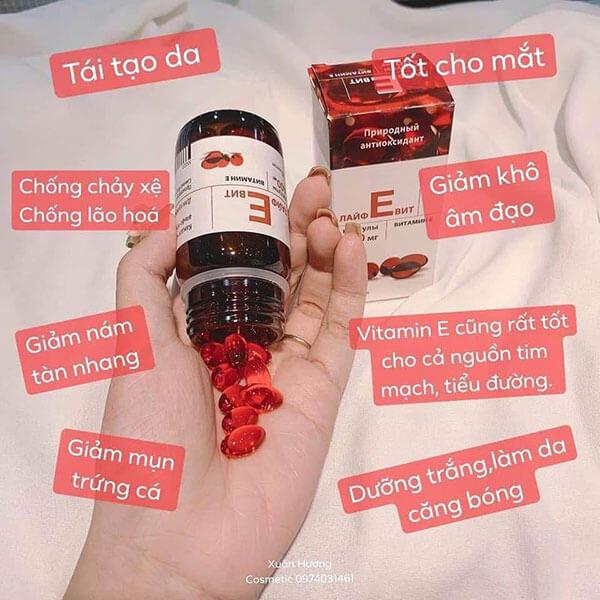 quy cách Viên uống Vitamin E Đỏ Mirrolla nga 400mg
