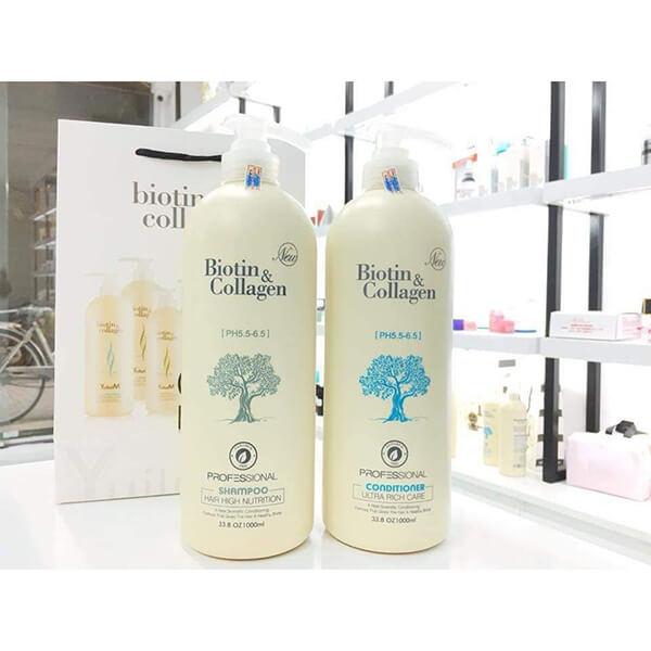 Bộ dầu gội xả Biotin Collagen 1000ml - siêu mềm mượt, cho tóc khô hư tổn